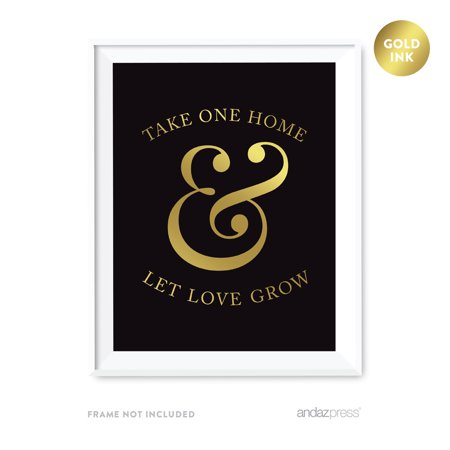 Please Take One Home and Let Love Grow Plant Seed Favors Black and Metallic Gold Wedding