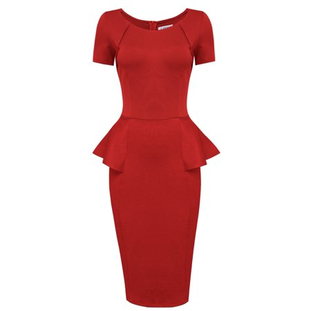TAM WARE Women Short Sleeve Zip Up Peplum Midi Dress