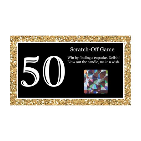 Adult 50th Birthday - Gold - Birthday Party Game Scratch Off Cards - 22 Count