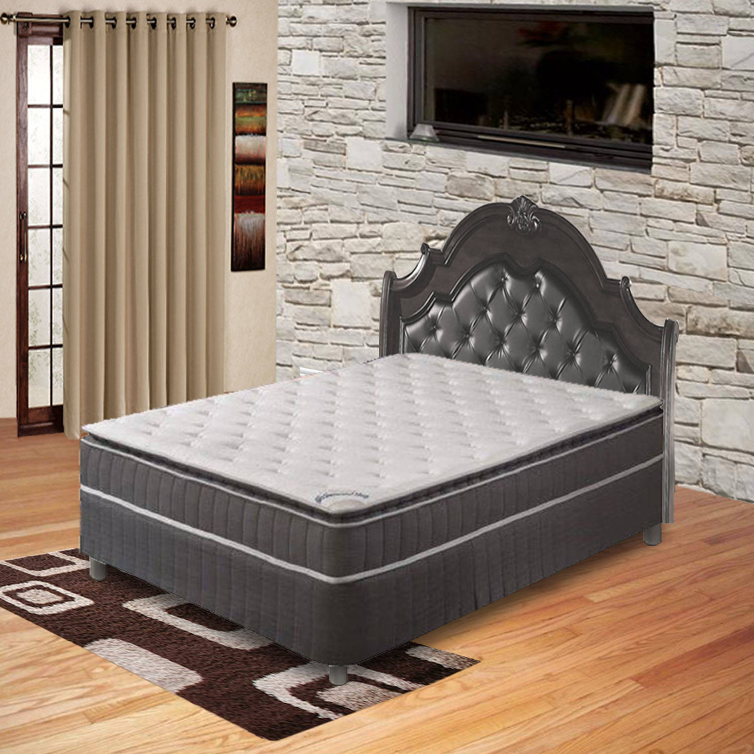Pillow Top Pocketed Coil Orthopedic Mattress and 5-inch Box Spring, Acura Collection, Multiple Sizes