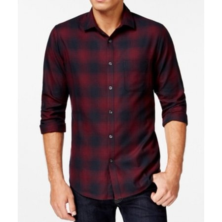 Alfani new red navy mens xl flannel slim fit button down for Mens slim fit flannel shirt