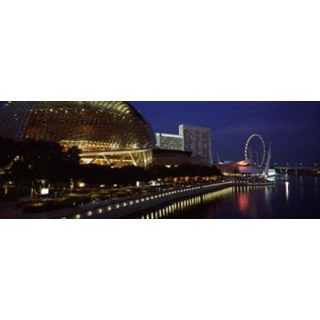 Concert hall at the waterfront Esplanade Theater The Singapore Flyer Singapore River Singapore Canvas Art - Panoramic Images (36 x 13) - Halloween Concert Flyer