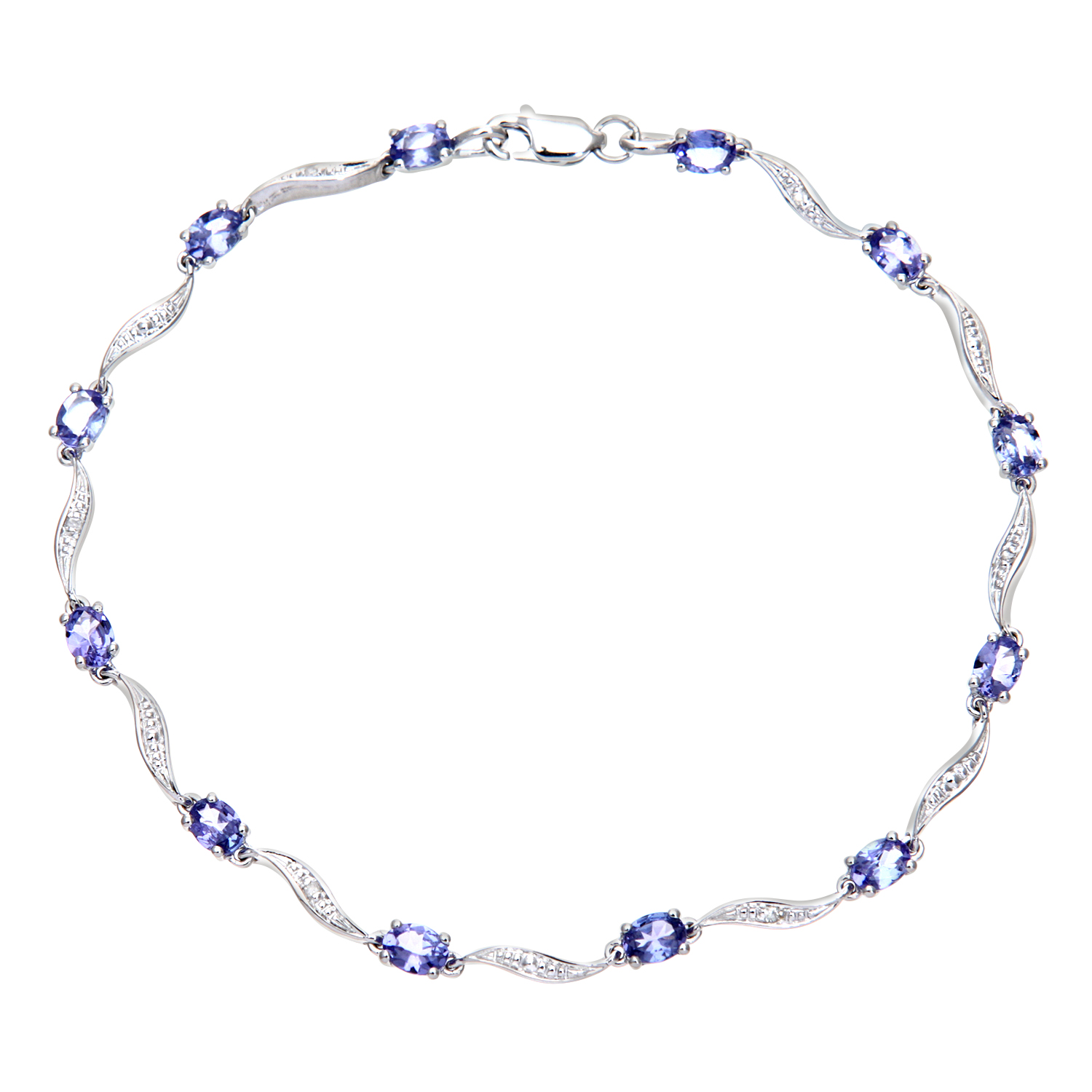 9ct White Gold Tanzanite Wave Bracelet with Diamond by Revoni