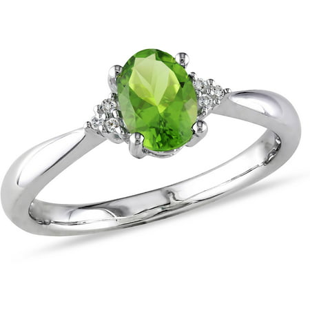 4/5 Carat T.G.W. Peridot and Diamond-Accent Sterling Silver Cocktail - Peridot Solitaire Cocktail Ring