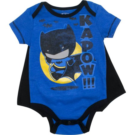 Justice League Batman Baby Boys' Bodysuit and Cape, Blue (0-3 - Batman And Baby