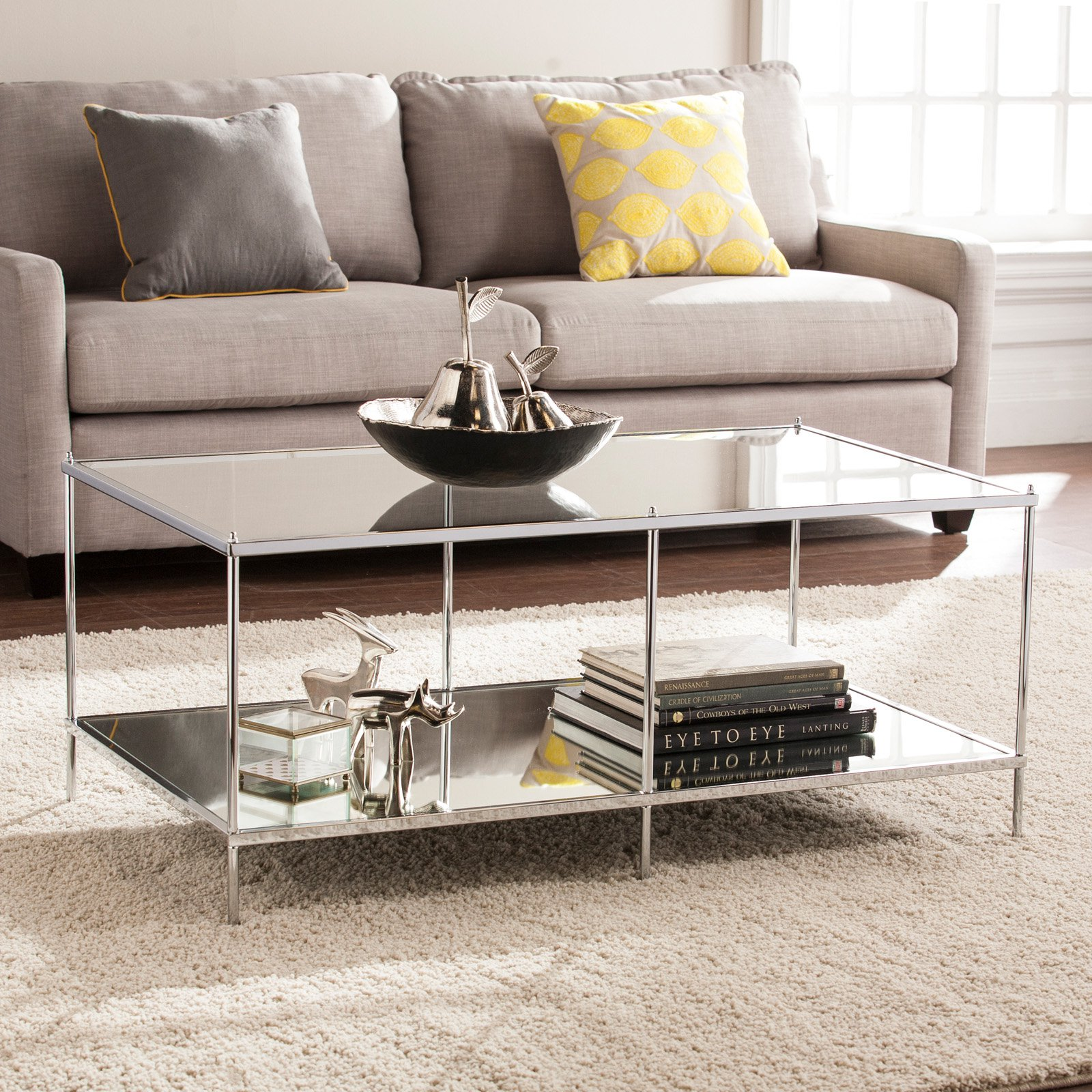 Southern Enterprises Knox Glam Mirrored Cocktail Table Chrome by Southern Enterprises