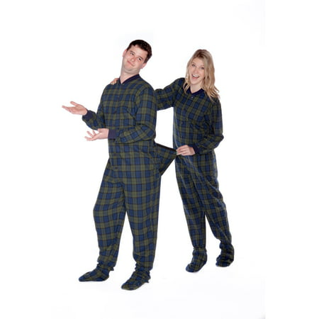 Navy Blue & Green Plaid Flannel Adult Mens Footed Pajamas w/ Rear Flap Sleeper ()
