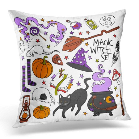 White Skull Star (ECCOT Feather Candle Magic Witch Black Cat Hat Halloween Pumpkin Potion Skull Book Stars Objects on White Cute Pillowcase Pillow Cover Cushion Case 16x16 inch )