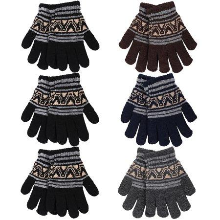 Falari Wholesale Kids Children Winter Knitted Magic Stretch Gloves School Gifts White Stretch Glove
