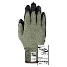 Flame Resistant Gloves - Ansell Size 11 PowerFlex 80-813 13 Gauge Medium Duty Special Purpose Cut And Flame Resistant Foam Palm Coated Work Gloves With DuPont Kevlar Liner And Knit Wrist