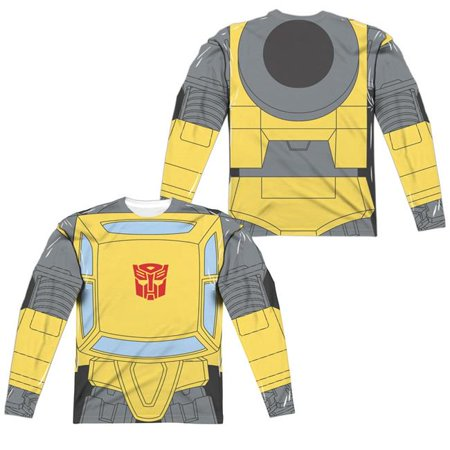 Trevco Sportswear HBRO133FB-ALPP-4 Transformers & Bumblebee Costume Front & Back Print - Long Sleeve Adult Poly Crew T-Shirt, White - Extra