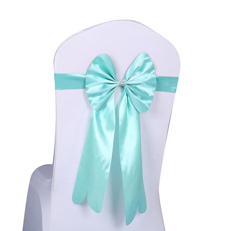 Slipper Chair Covers - Elastic Bowknot Chair Cover Sashes Anti-wrinkle Ribbon Chair Band Wedding Decor