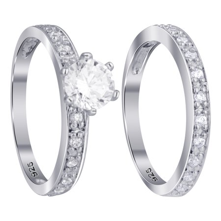 Gem Avenue 925 Sterling Silver Cubic Zirconia Promise Wedding Band Engagement Ring Set