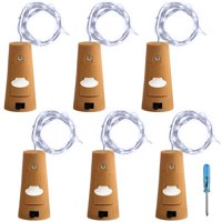 6 Pcs Cork Lights with Screwdriver, Bottle Lights Fairy String LED Lights, 30 inches Copper Wire 15 LED Bulbs for Party Wedding Concert Festival Christmas Tree Decoration - Cool White