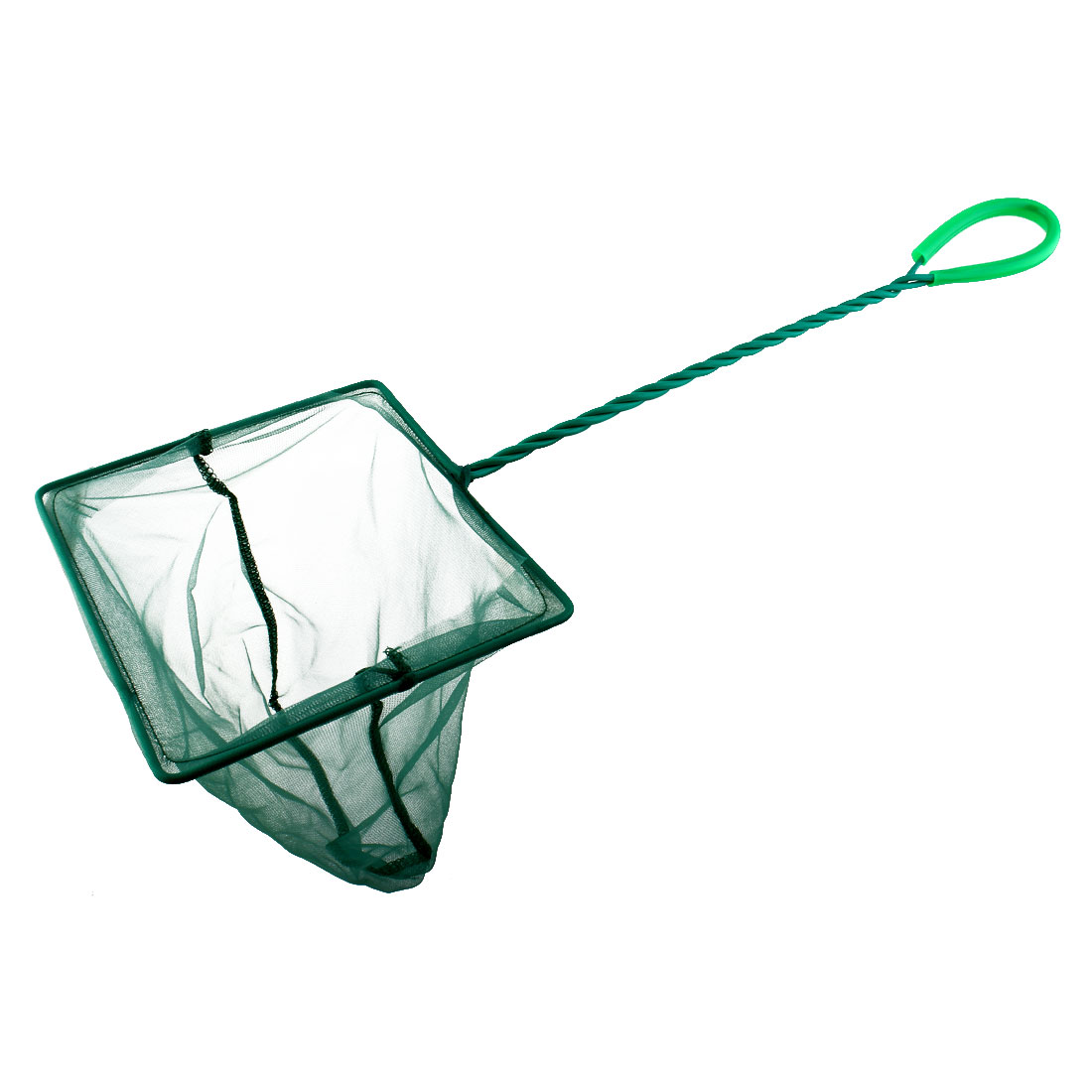 Aquarium Plastic Coated Spiral Handle Square Frame Fish Net Green 7.9inch Wide