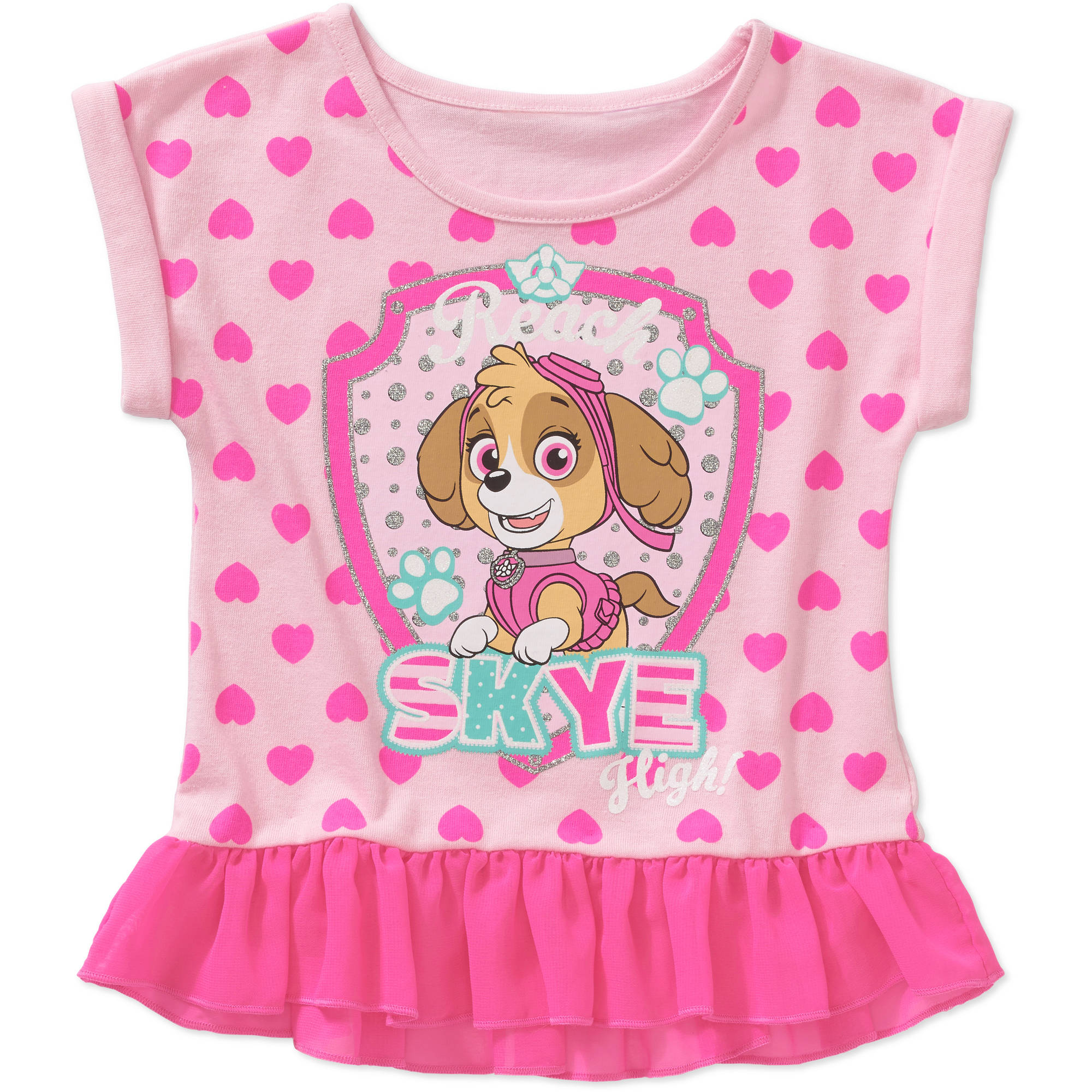 Paw Patrol Toddler Girl Graphic Ruffled Peplum Tee Shirt