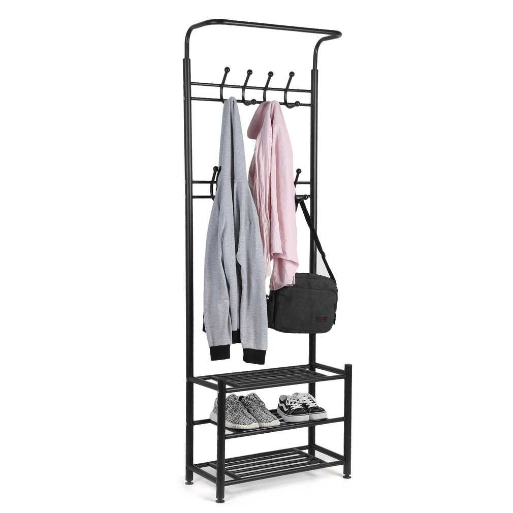 Multi-Purpose Entryway Shoe Bench with Coat Rack Hall Tree Storage Organizer With Hooks Clothes Hat Shoe Coat Rack Stand Home Decor