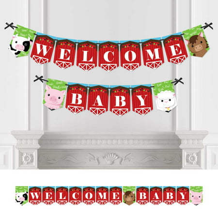 Farm Animals - Baby Shower Bunting Banner - Barnyard Party Decorations - Welcome Baby](Animal Print Decorations For Parties)