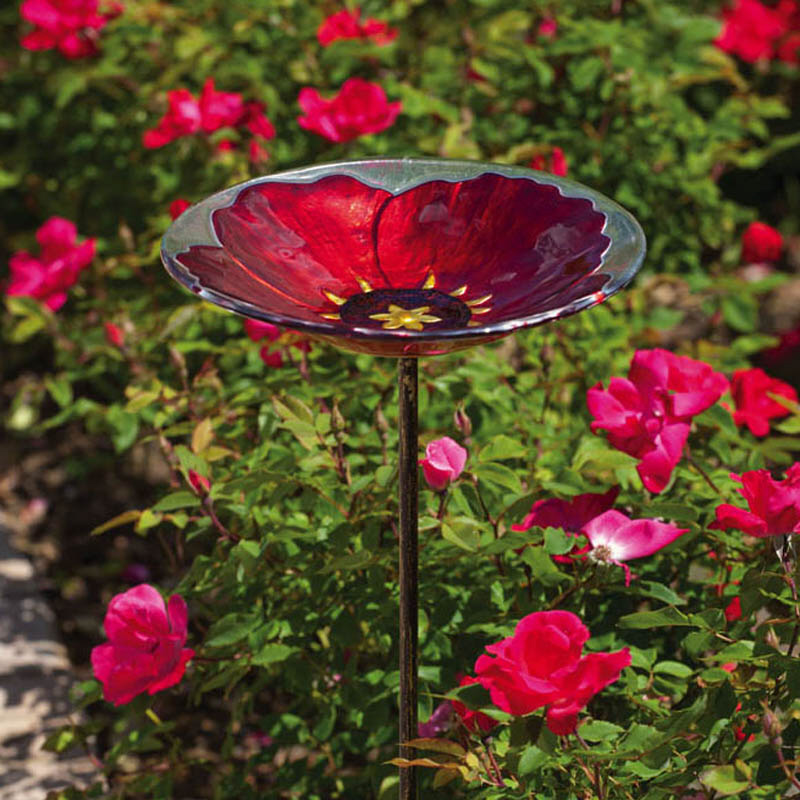 Evergreen Enterprises, Inc. Bird Bath Stake RubyPansy in Glass