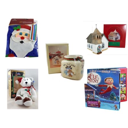 """Christmas Fun Gift Bundle [5 Piece] -  Time  Windsock Santa - The Sarah Plain And Tall Collection The Country Church Hallmark 1994 - Short Candle Jars """"Warm Fuzzy Wishes"""" Snowman & Teddy Bear - Limi"""