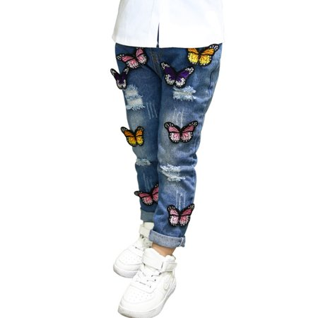 JEFFENLY Girls Jeans Butterfly Embroidery Hole Cowboy Pants Trousers For Kids (Cowboy Pants)