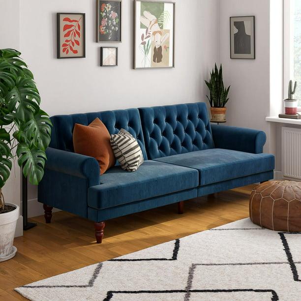 Novogratz Upholstered Cassidy Futon Convertible Sofa Bed Blue Velvet Walmart Com Walmart Com