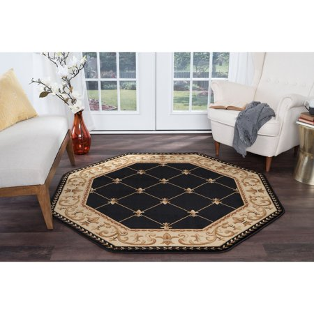 Black Octagon Rug - Alise Rugs  Soho Traditional Border Octagon Area Rug