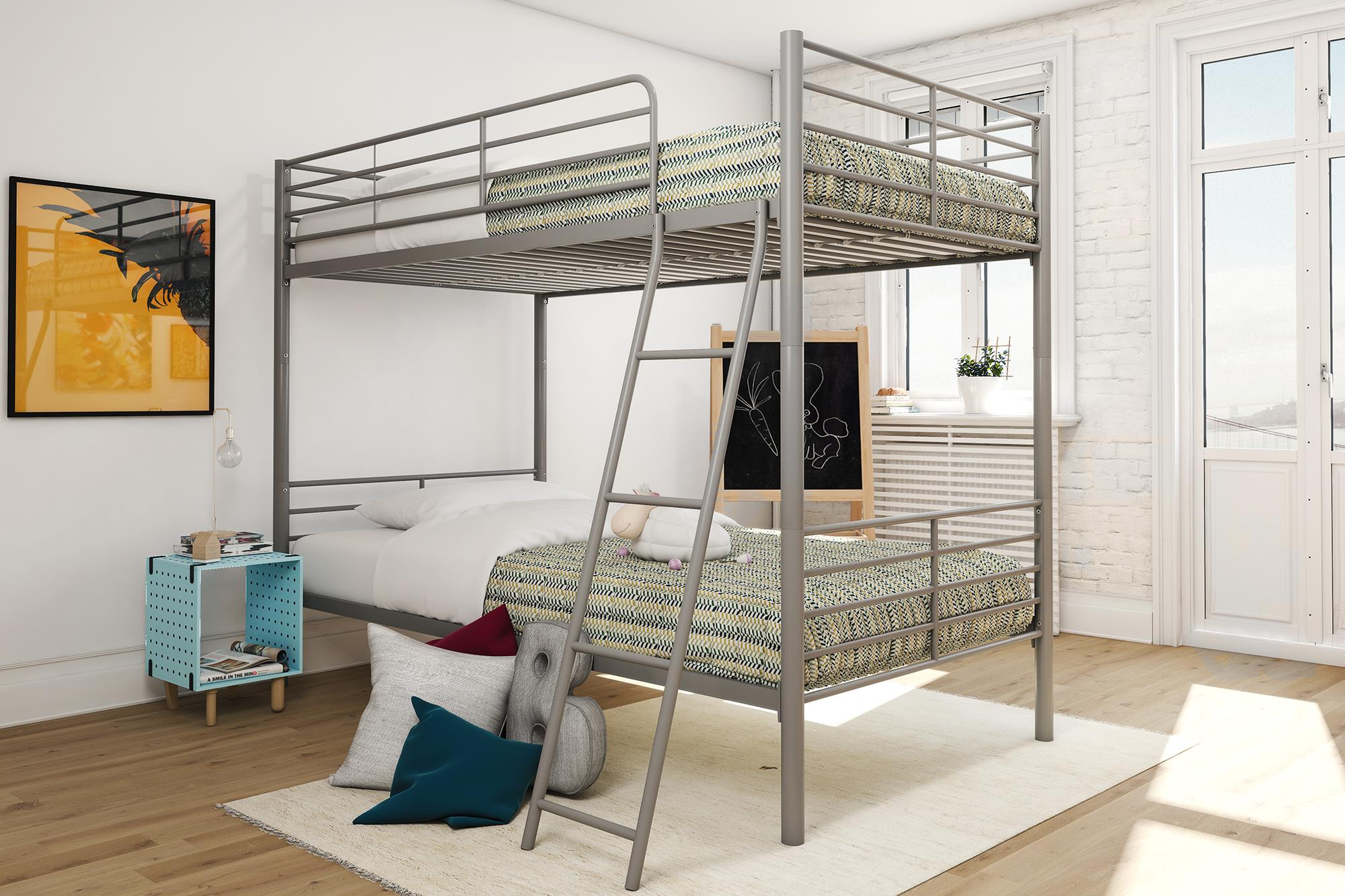 Mainstays Twin Over Twin Convertible Metal Bunk Bed, Multiple Colors by Dorel Home Products
