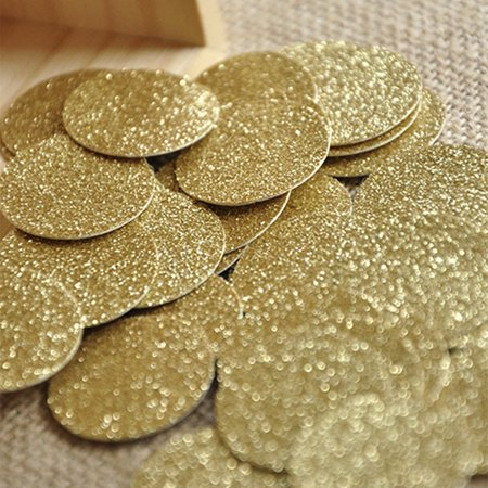 Gold Confetti Circles 1 Inch Pack of 50.  Ships in 1-3 Business Days.  Glitter Confetti Circles. (50 Confetti)