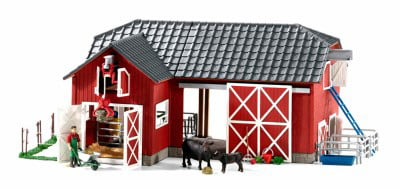 Schleich Farm World, Large Red Barn and with Animals and Accessories Toy Figure by Schleich
