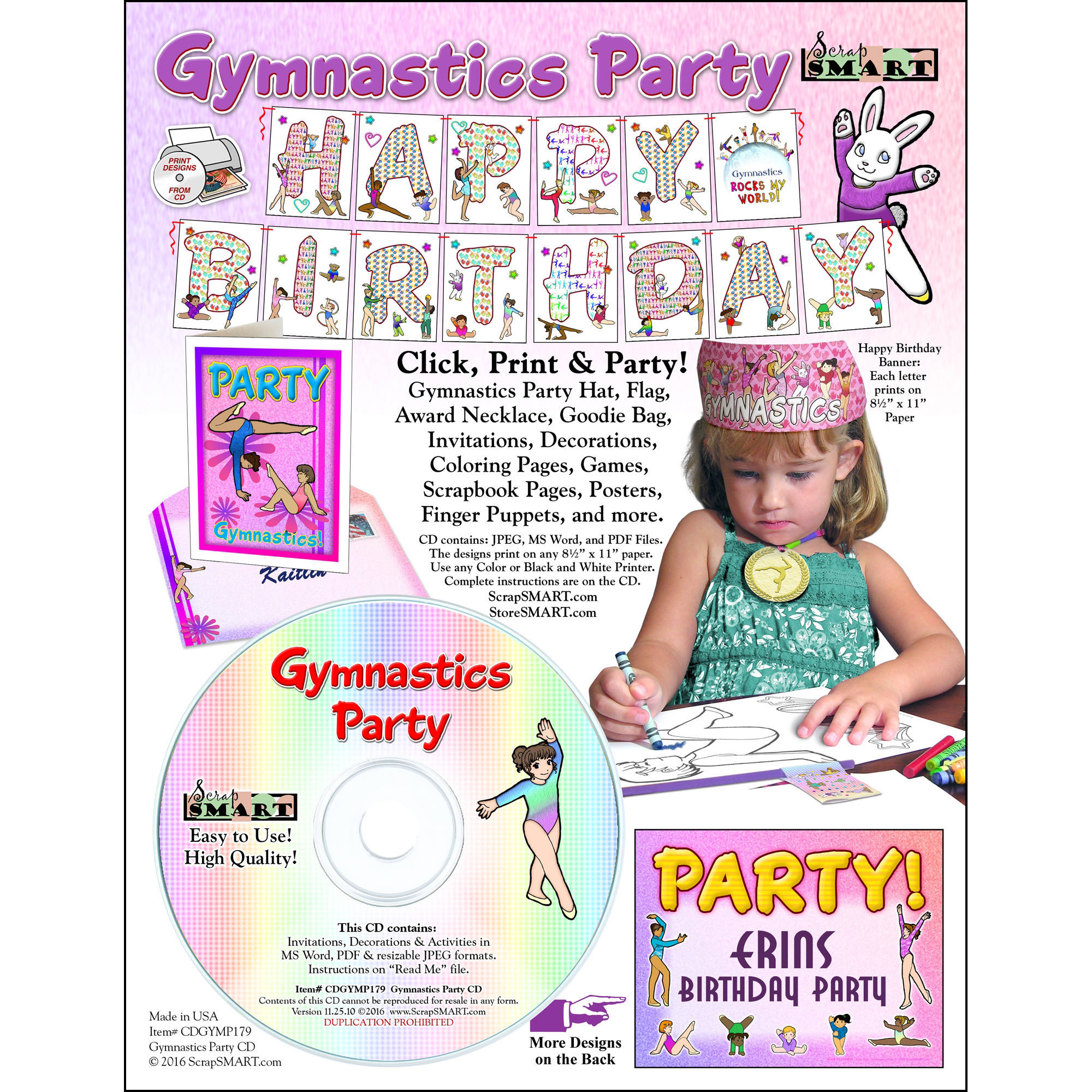 ScrapSMART Gymnastics Party: Decorations, Crafts, Scrapbook and Coloring Pages CD-ROM