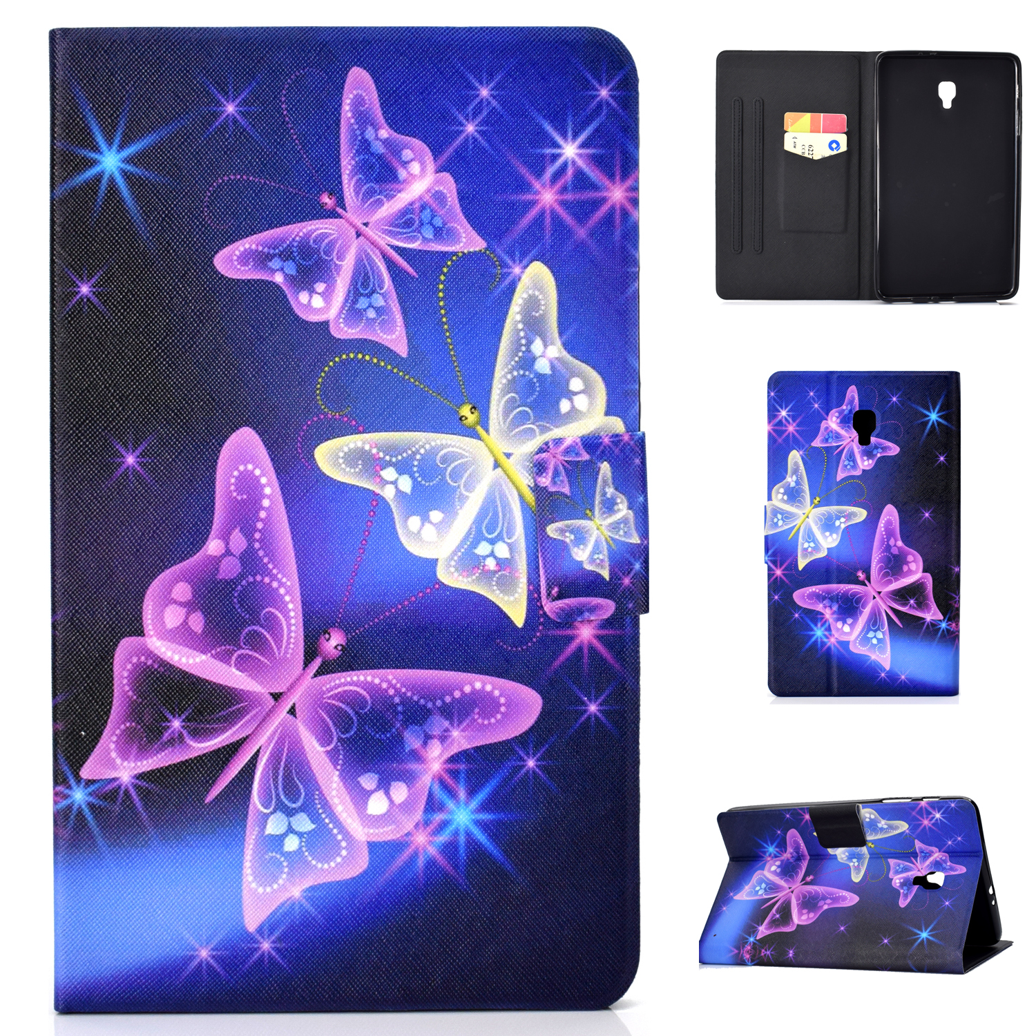 Case for Samsung Galaxy Tab A 8.0-inch SM-T380 2017 Tablet, Allytech Smart Folio Stand Shell Cover with Auto Sleep Wake for Samsung Galaxy Tab A 8.0-inch SM-T380 SM-T385 2017, Sparkle Butterfly