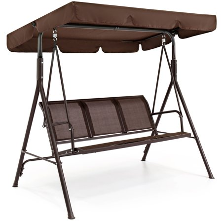 Best Choice Products 2-Person Outdoor Convertible Canopy Porch Swing - Brown ()