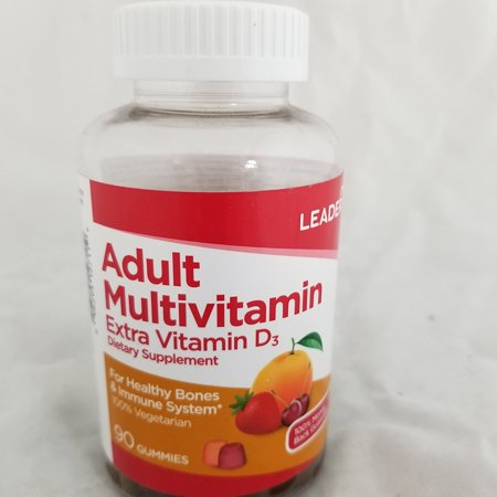 Leader Adult Multivitamin Plus Extra D3 Gummies  90 Count Per Bottle