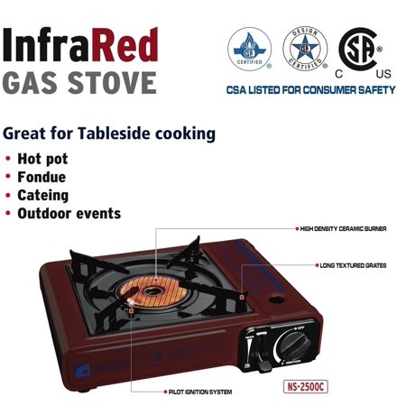 Soniko Ns2500c Portable Gas Stove With Infrared Technology Ceramic Burner  Burgundy