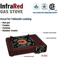Soniko NS2500C Portable Gas Stove with InfraRed Technology Ceramic Burner, Burgundy
