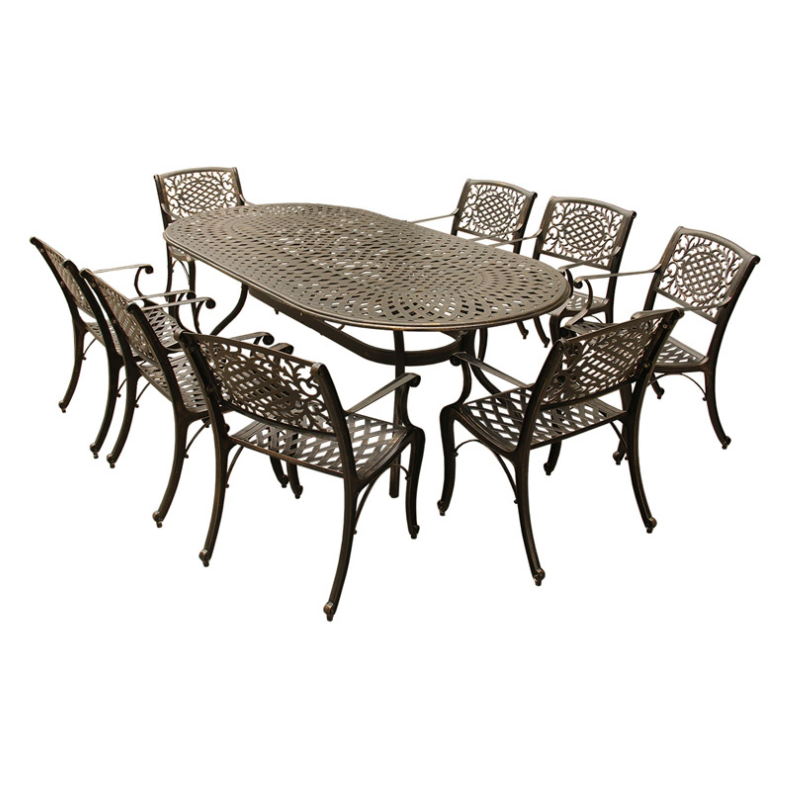 Oakland Living Ornate Mesh Lattice Aluminum 9 Piece Patio Dining Set