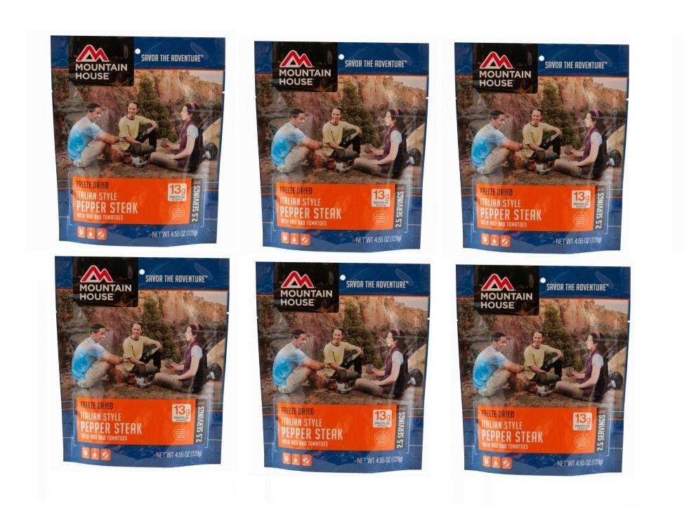 Mountain House Freeze Dried 6 Food Pouches -Italian Style Pepper Steak by