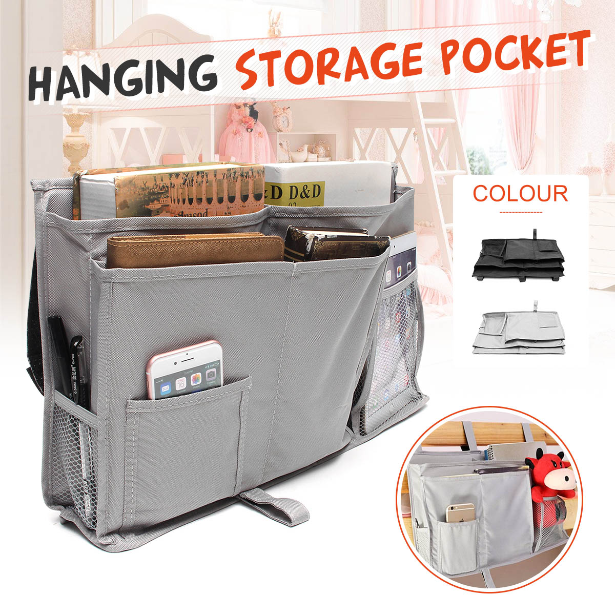 50x30cm/ 19.69x11.81'' Bedside Caddy, 8 Pockets Hanging Storage Bag Organizer Holder for Bunk Dorm Rooms & Hospital Baby Bed Rails &  Cabin Chair Storage Boxes - Grey&Black