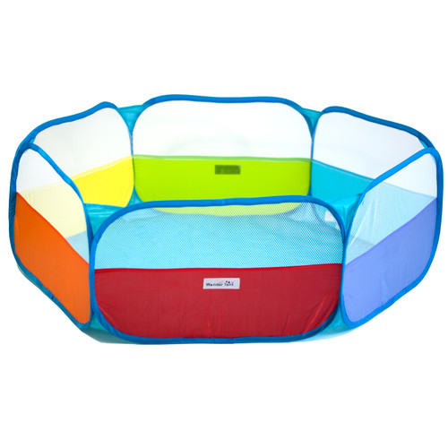 Rainbow Hexagon Children Twist Playpen w/ Safety Meshing for Child Play Visibility & Carry Tote - Hexagon Pen