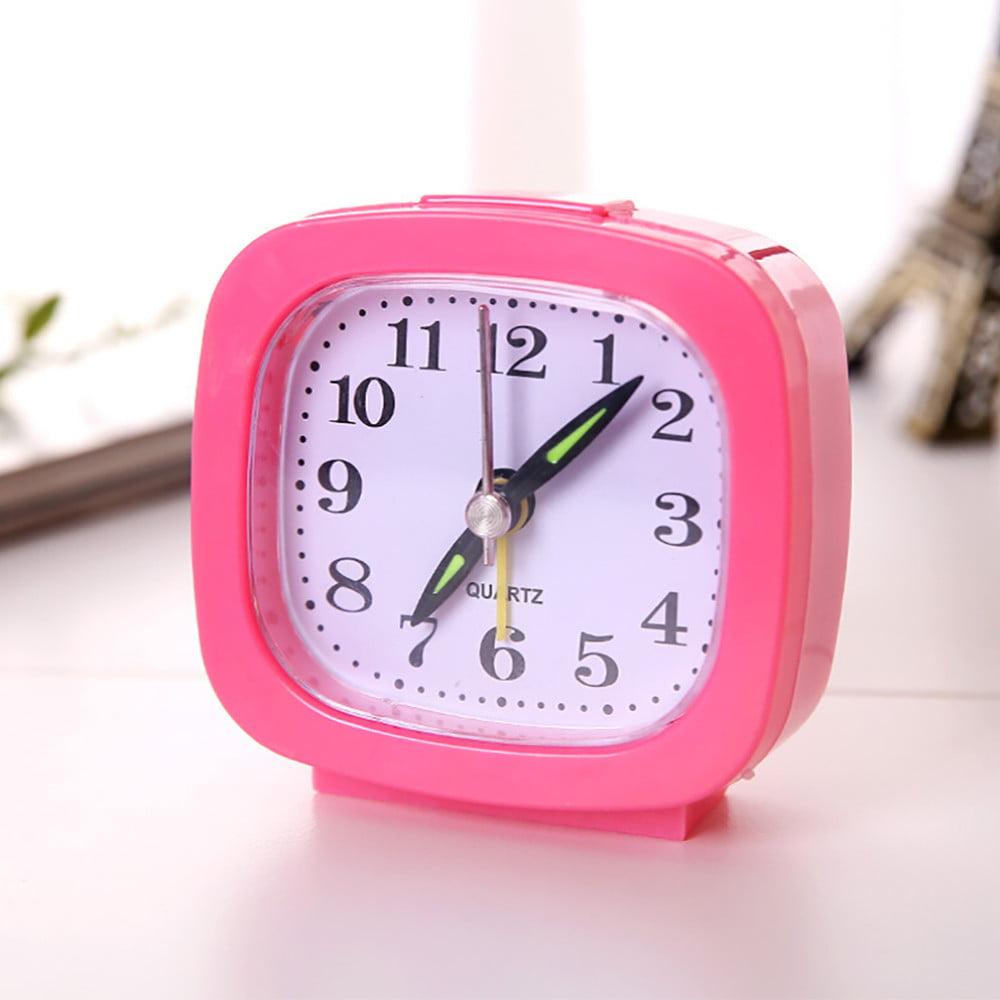 Square Small Bed Compact Travel Quartz Beep Alarm Clock Cute Portable