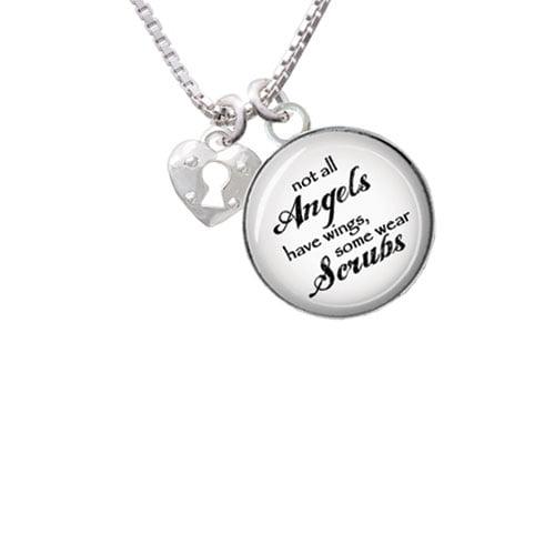 "Mini Heart Lock Angels Wear Scrubs Glass Dome Necklace, 18""+2"""