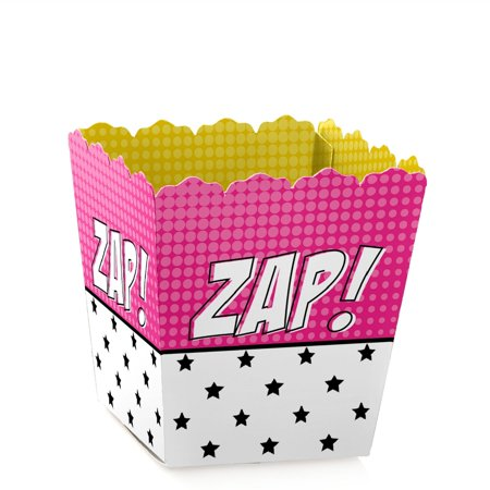 BAM! Girl Superhero - Party Mini Favor Boxes - Baby Shower or Birthday Party Treat Candy Boxes - Set of 12