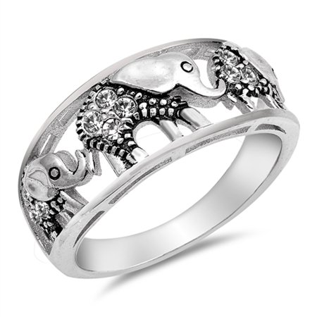 White CZ Filigree Elephant Ring ( Sizes 4 5 6 7 8 9 10 ) .925 Sterling Silver Bali Bead Band Rings by Sac Silver (Size 4)