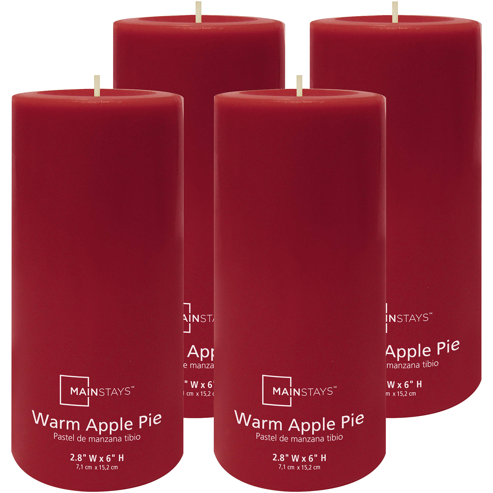 "Mainstays 6"" Pillar Warm Apple Pie Scented Candle, Set of 4"