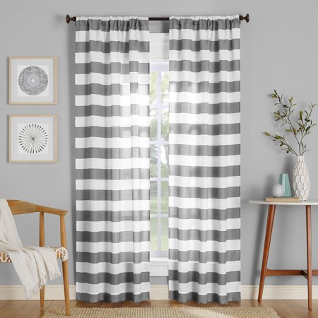 No. 918 Glendale Stripe Semi-Sheer Rod Pocket Curtain - Gray Striped Kitten