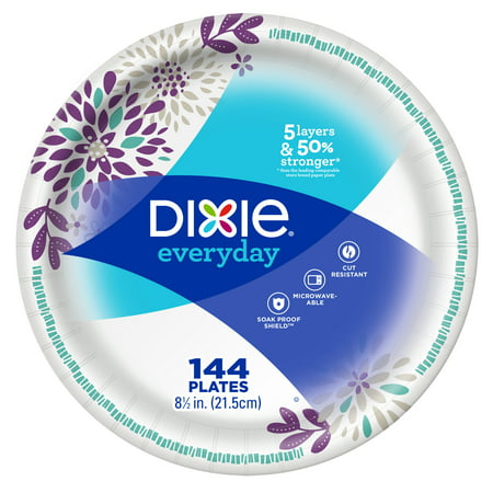 Dixie Everyday Lunch/Light Dinner Paper Plates, 144ct, 8.5