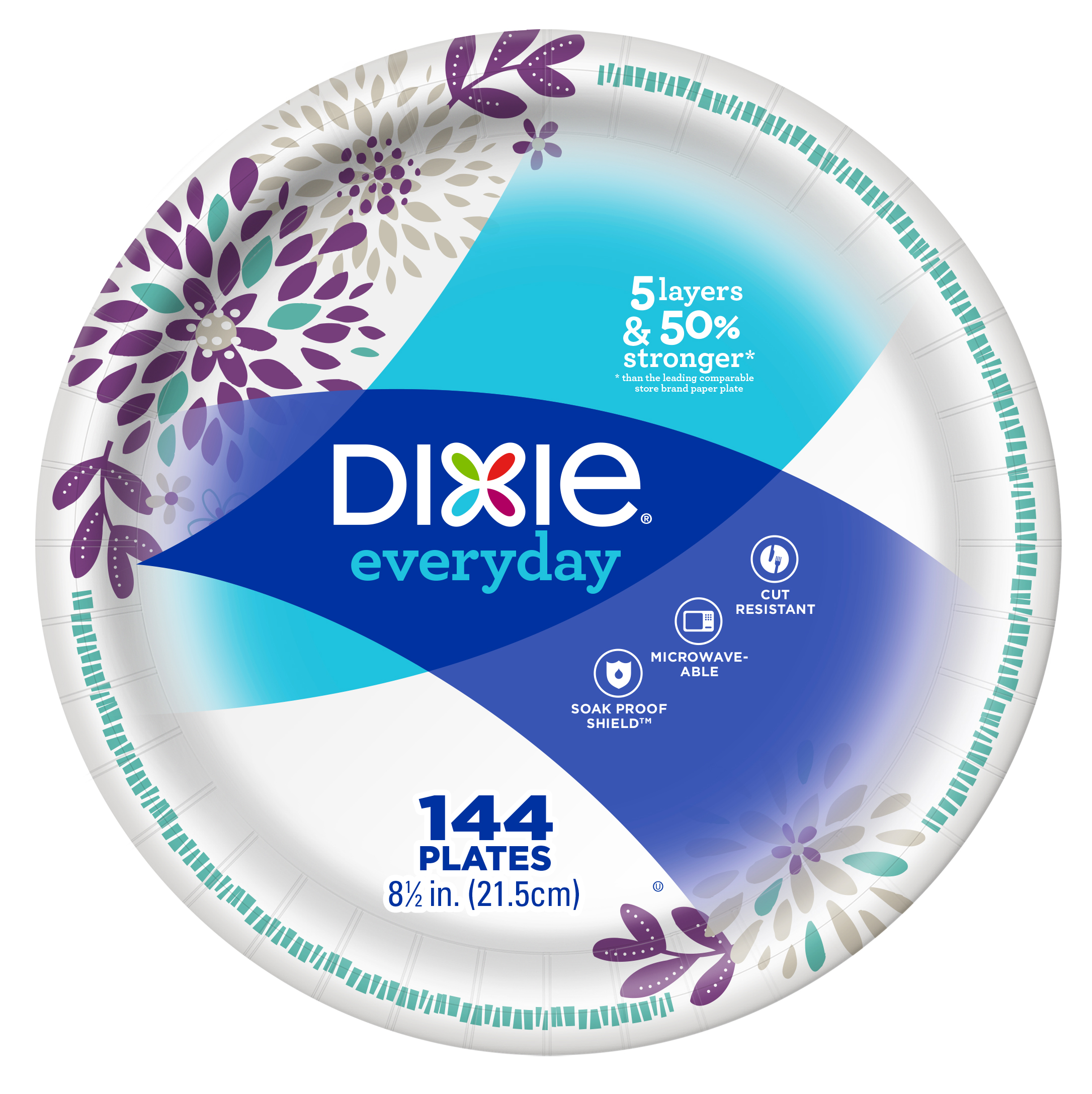 "Dixie Everyday Lunch/Light Dinner Paper Plates, 144ct, 8.5"" size"