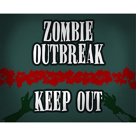 Zombie Outbreak Keep Out Print Blood Stain Hands Grabbing Zombies Scary Fun Halloween Wall Decoration Seasonal Poster - Zombie Hands Halloween Decorations