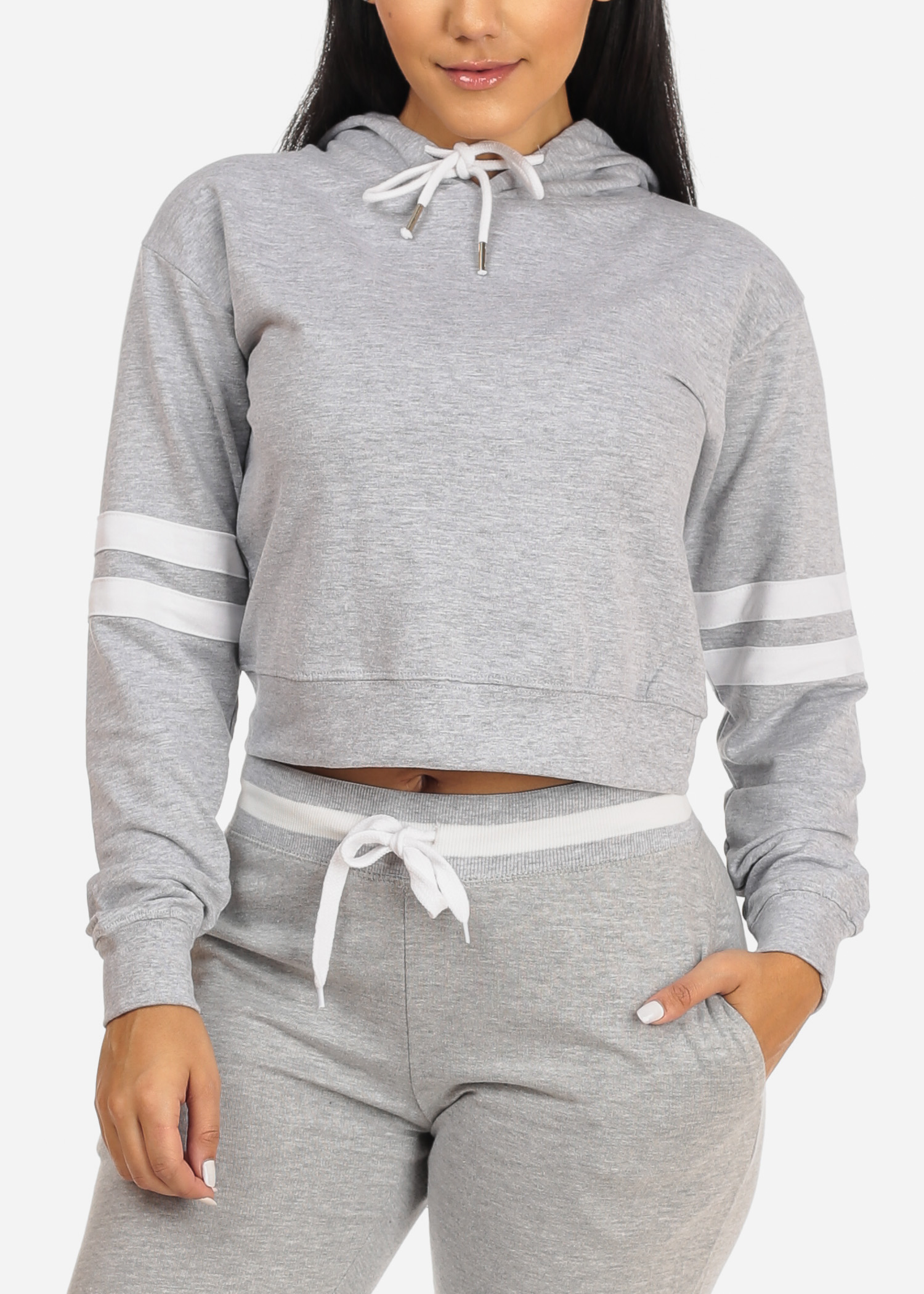 Womens Juniors Cotton Casual Activewear Sport Long Sleeve Solid Grey Cropped Pullover Hoodie Sweatshirt 10475S